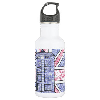 British Police Box and Union Jack Flag Illustrated 532 Ml Water Bottle