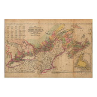 British Possessions North America Map 1855 Wood Canvases