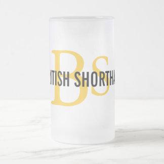 British Shorthair Monogram Frosted Glass Beer Mug