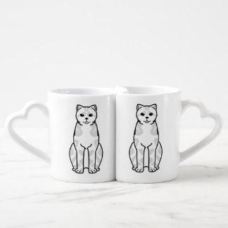 British Shorthair Tabby Cat Cartoon Coffee Mug Set