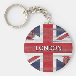 British Union Jack Flag Grunge Art Key Ring