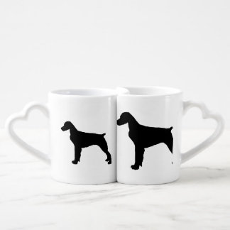 Brittany Spaniel sporting hunting dog Silhouette Couple Mugs