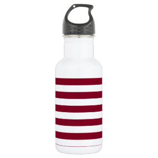 Broad Stripes - White and Burgundy 532 Ml Water Bottle