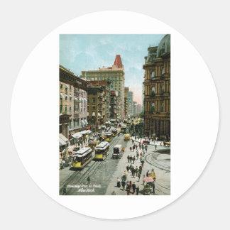 Broadway from St. Pauls, New York Classic Round Sticker