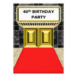 Broadway Marquee Red Carpet 40 th Birthday Party Custom Invite