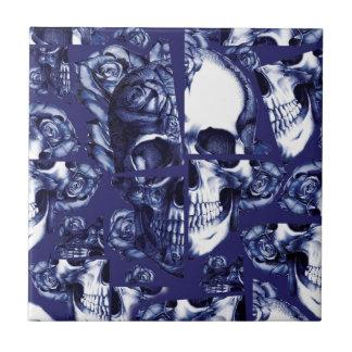 Broken up navy and white rose skulls small square tile