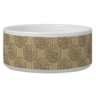 Bronze and Burlap Flower Mandalas Motif Design 1 Dog Bowls