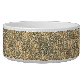 Bronze and Burlap Flower Mandalas Motif Design 1 Dog Food Bowl