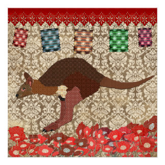Bronze & Blush Wallaby Poster
