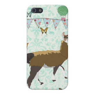 Bronze Llama Blue Damask i Cover For iPhone 5