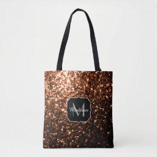 Bronze Orange Brown glitters sparkles Monogram Tote Bag