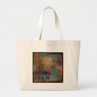 Bronze, Teal, Purple Abstract Large Tote Bag