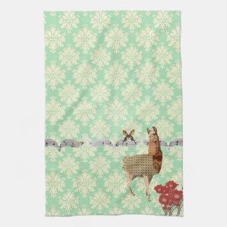 Bronze Vintage Llama Butterfly Mint Julep Damask Hand Towels