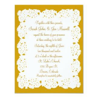 Bronze White Lace Doily Wedding Invitation