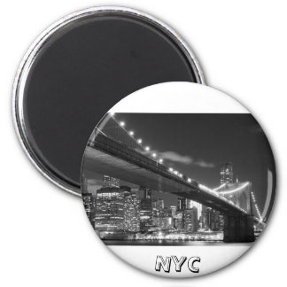 Brooklyn Bridge and Manhattan Skyline At Night Magnet