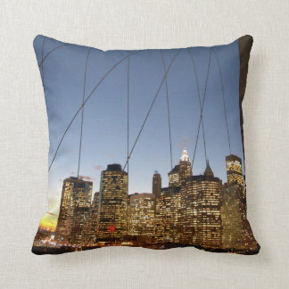 Brooklyn Bridge At Dusk With Manhattan Skyline Cushion