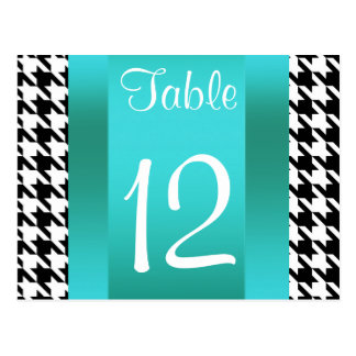 Brooklyn Bridge Blk Wht Houndstooth 2 Table Number Postcard