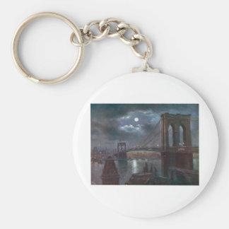 Brooklyn Bridge by Moonlight Basic Round Button Key Ring