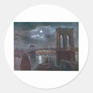 Brooklyn Bridge by Moonlight Classic Round Sticker
