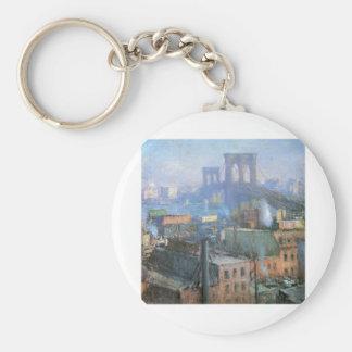 Brooklyn Bridge, East River, circa 1916 Basic Round Button Key Ring