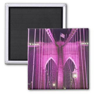Brooklyn Bridge Lit Purple Magnet