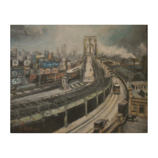 Brooklyn Bridge New York City Fine Art Painting Wood Print