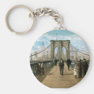 Brooklyn Bridge Promenade, New York City Basic Round Button Key Ring