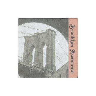 Brooklyn Bridge/ Quote Stone Magnet