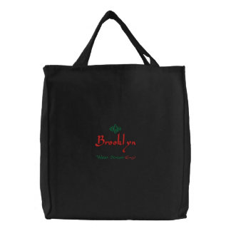 Brooklyn Name With English Meaning Black Embroidered Tote Bag