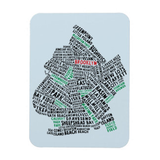 Brooklyn NYC Typography Map Magnet