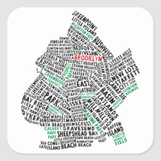 Brooklyn NYC Typography Map Square Sticker