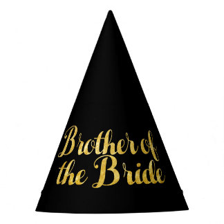 Brother of the bride gold party hat