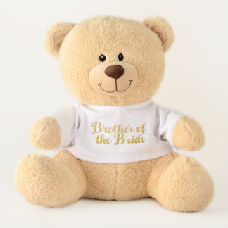 Brother of the bride gold teddy bear