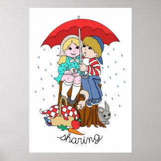 Brother & Sister Sharing Umbrella in Rain Poster