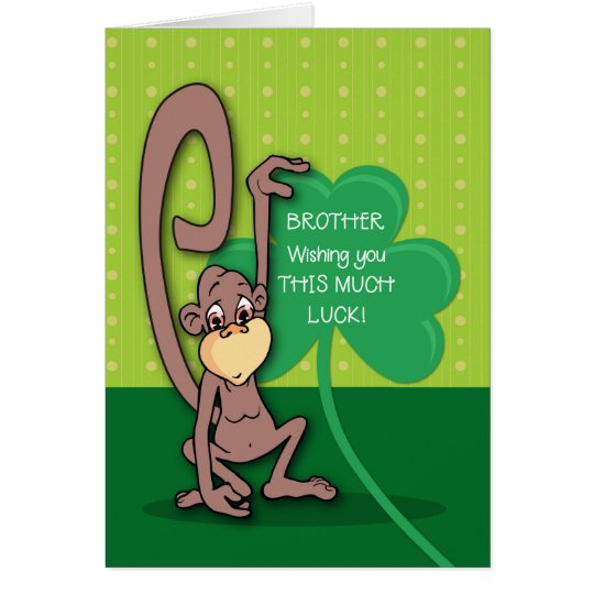 Brother, St. Patrick's Day Monkey with Shamrock Card