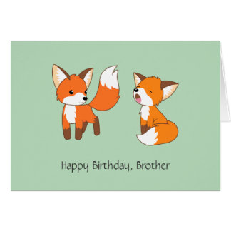 Brothers Birthday - Little Foxes Card