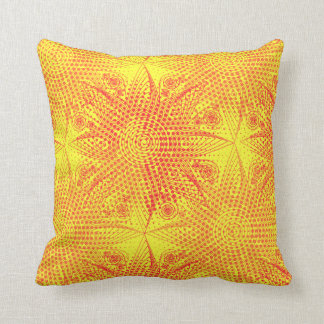 Brown abstract tribal snowflake with halftones, in cushion
