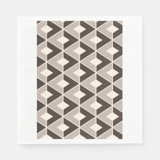 Brown and beige geometric diamonds disposable napkins