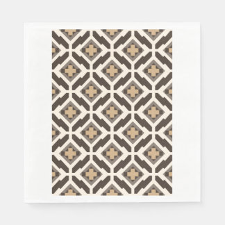 Brown and beige geometric mosaic disposable serviettes