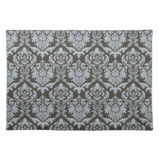 Brown and blue damask cloth place mat