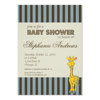 Brown and Blue Stripes Baby Shower Boy Invitation