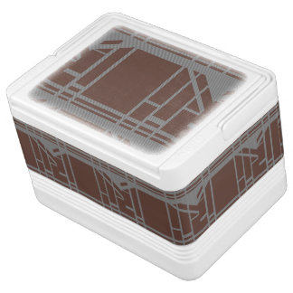 Brown and gray geometric pattern chilly bin