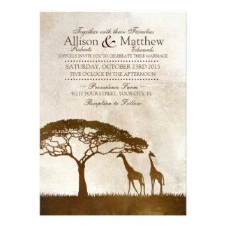 Brown and Ivory African Giraffe Wedding Invitation