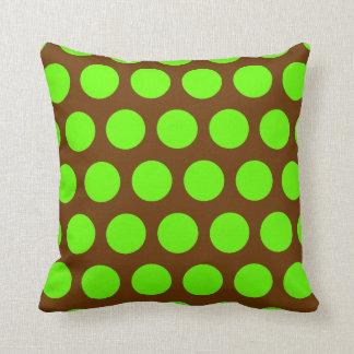 Brown and Lime Green Polka Dots Cushion
