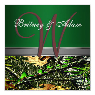 Brown and Mossy Green Camo Wedding Invitations