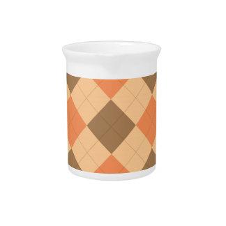 Brown and orange argyle pattern beverage pitchers