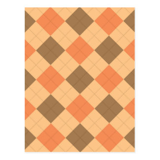Brown and orange argyle pattern postcard