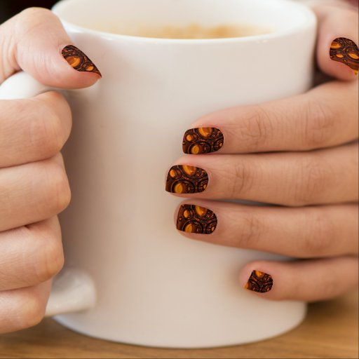 brown and orange bubble pattern  	Minx® nail art