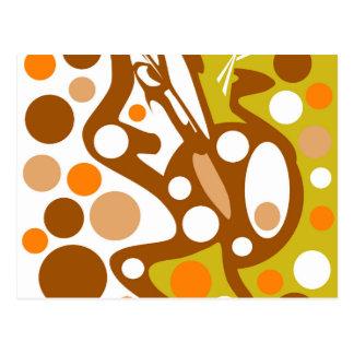 Brown and orange decor postcard