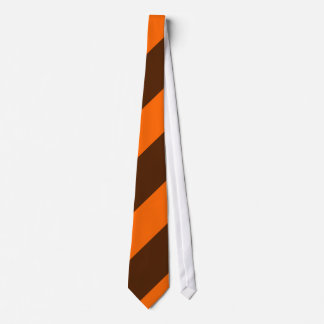 Brown and Orange Diagonal Stripes Tie
